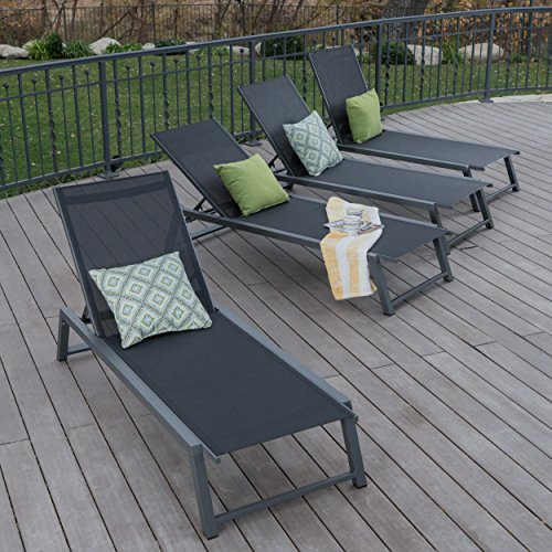 Great Deal Furniture Mesa Outdoor Black Mesh Chaise Lounge with Grey Finished Aluminum Frame (Set of 4) (On Outdoor Furniture Deals)