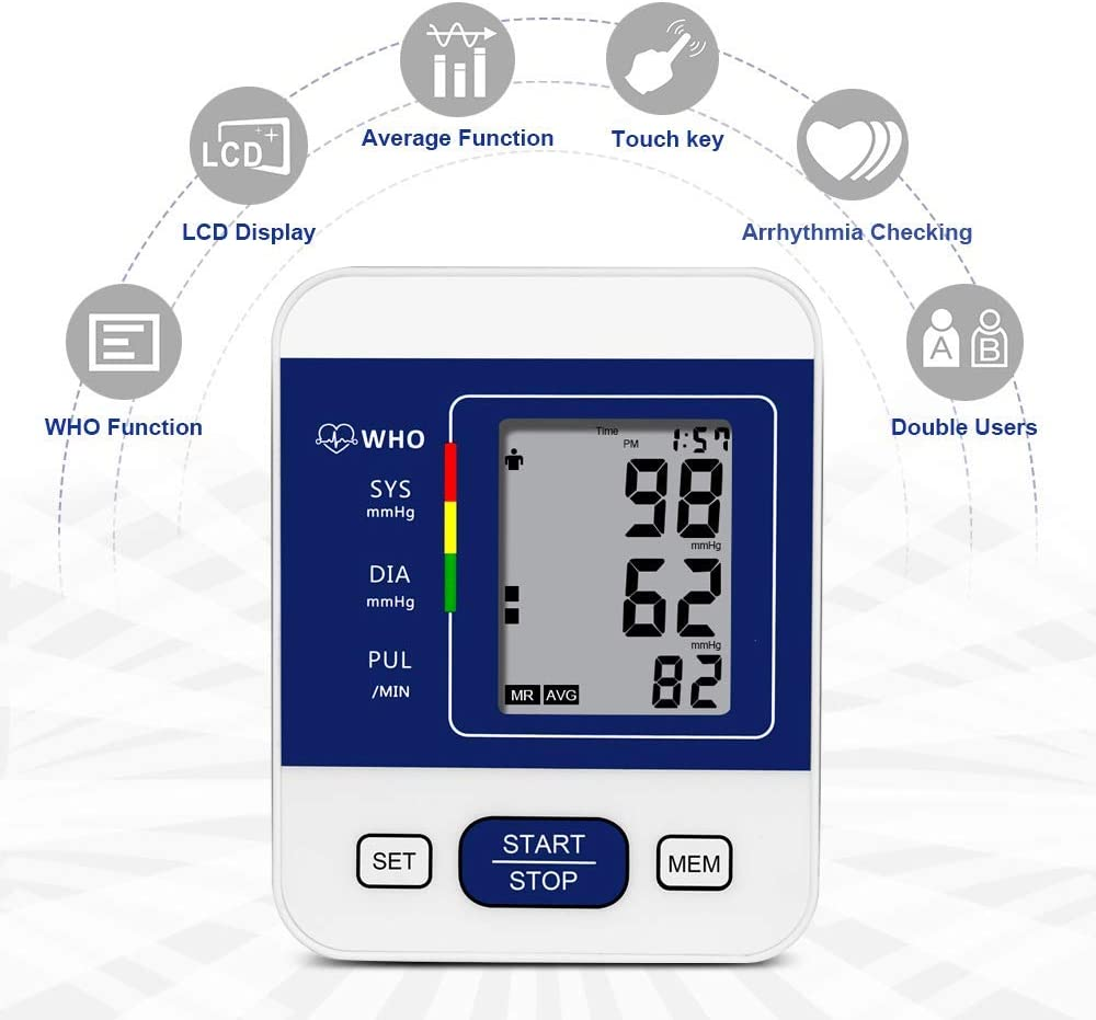 Upper Arm Blood Pressure Monitor Machine,2 Users Mode 198-Reading Memory Adjustable Cuff BP Monitor