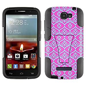 Alcatel One Touch Fierce 2 Hybrid Case Victorian Tileable Aqua Blue on Pink 2 Piece Style Silicone Case Cover with Stand for Alcatel One Touch Fierce 2