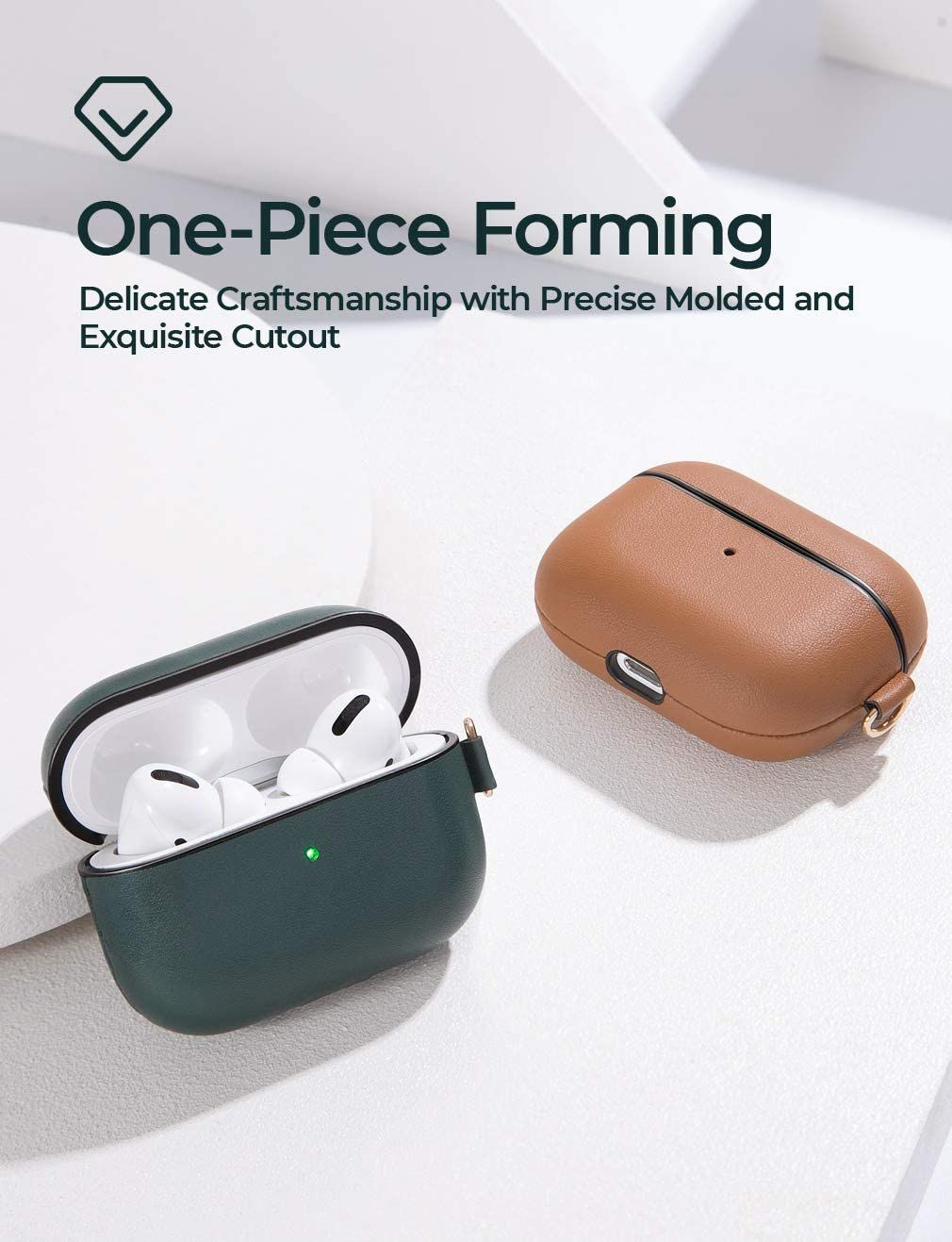 Linklike Upgraded AirPods Pro Case Cover Visible Front LED-Midnight Green Leather Cover+Hard Shell Case Compatible with AirPods Pro Wireless Charging Case 2019