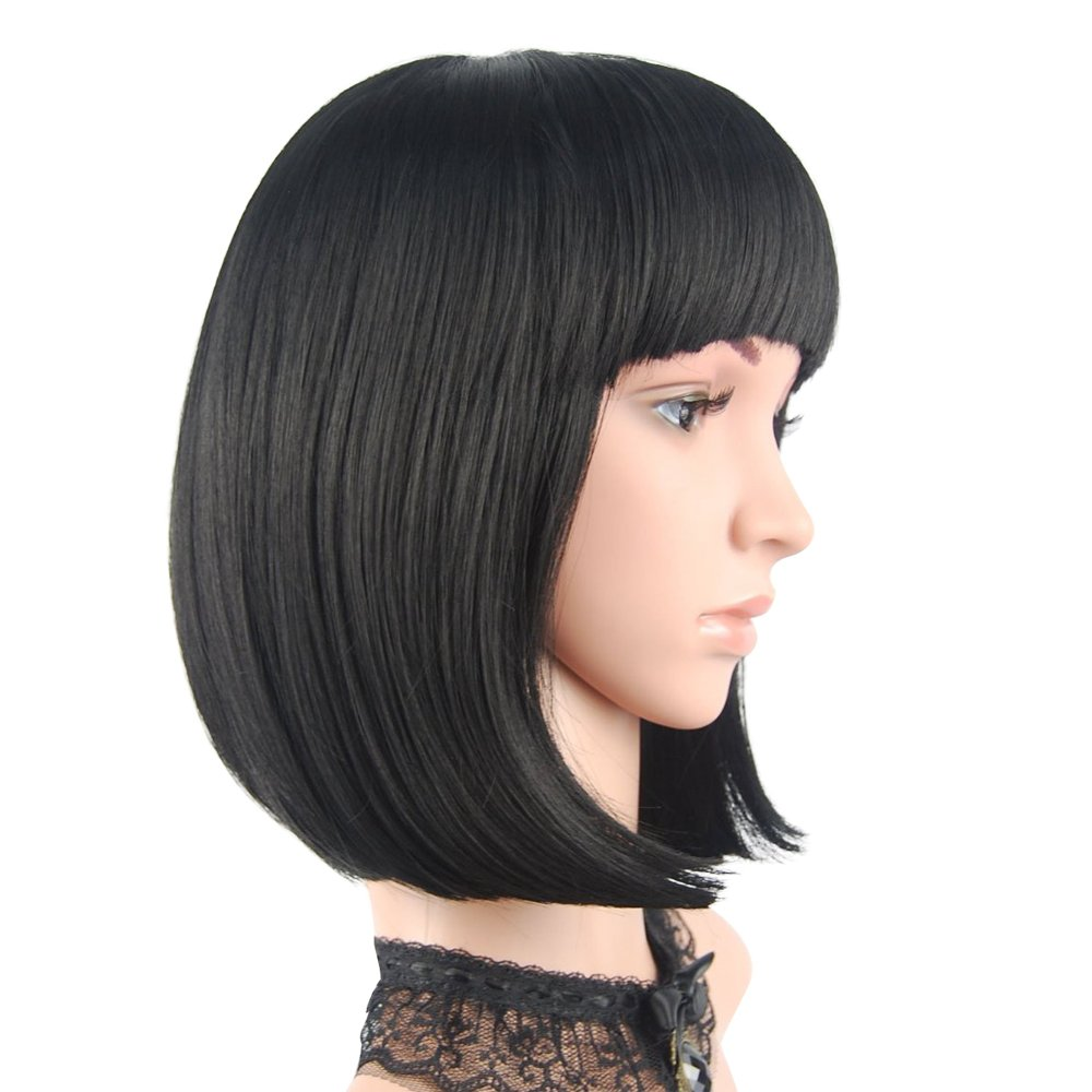 eNilecor Short Bob Hair Wigs 12'' Straight with Flat Bangs Synthetic Colorful Cosplay Daily Party Wig for Women Natural As Real Hair+ Free Wig Cap (Black) by eNilecor
