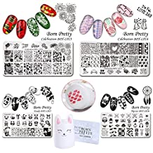 BORN PRETTY 4Pcs Nail Art Stamping Plate Christmas Valentine New Year Halloween Manicure Image Template Kit DIY Nail Print with 1pc Silicone Rabbit Stamper and 2Pcs Scrapers