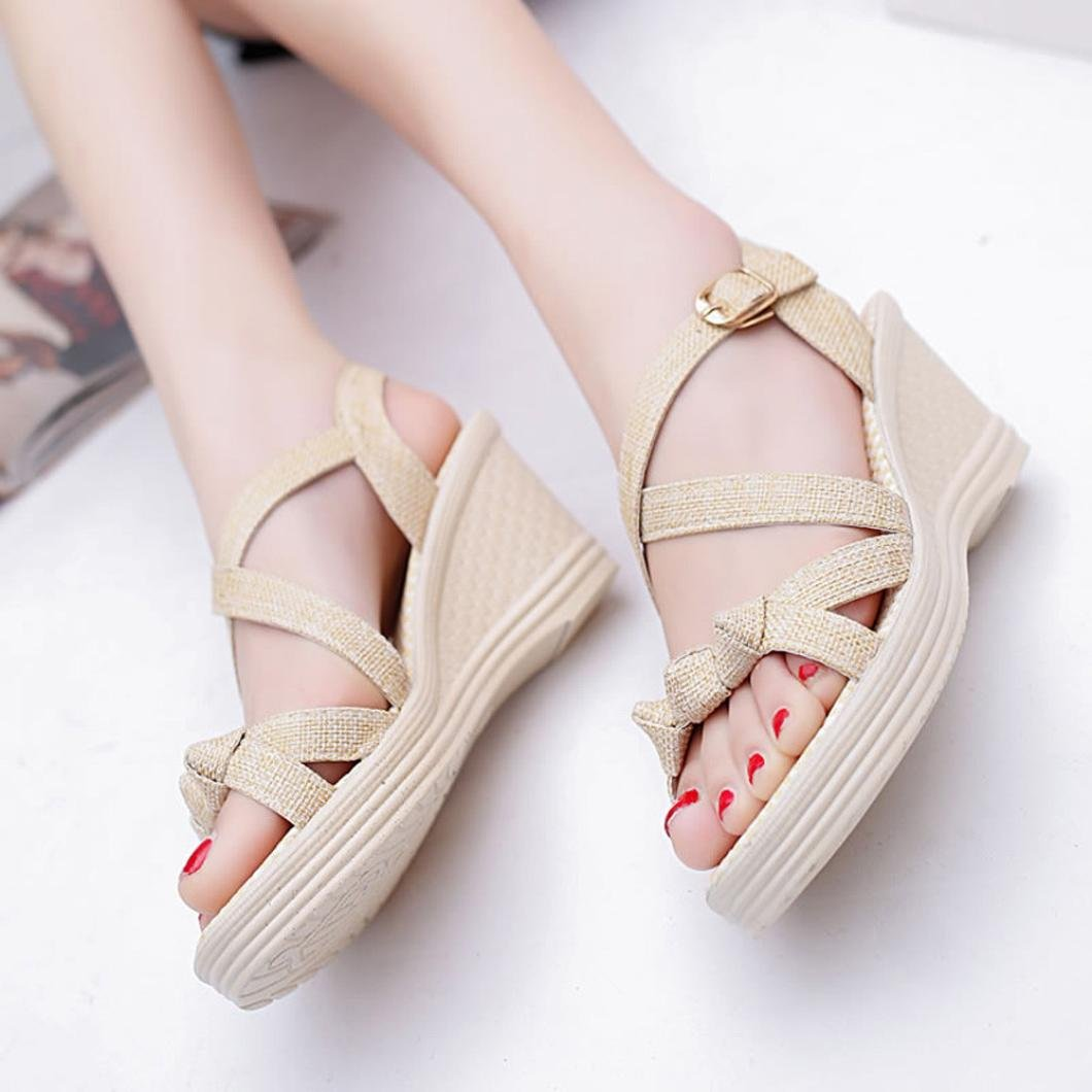 Alonea Women Shoes Summer Sandals Casual Peep Toe Platform Wedges Sandals Shoes