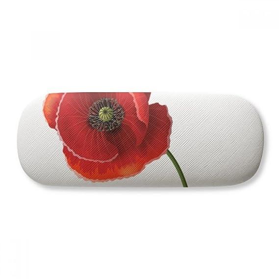 Red Flower Art Painting Corn Poppy Simplicity Glasses Case Eyeglasses Clam Shell Holder Storage Box