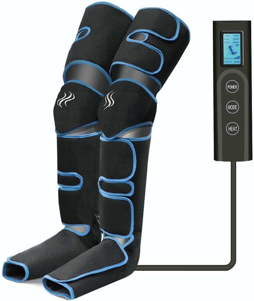 Masajeador de piernas, compresión de aire para piernas con controlador de mano 6 modos 3 intensidades, masajeador de piernas y pies recargable por USB para masaje de pantorrillas/pies/muslos