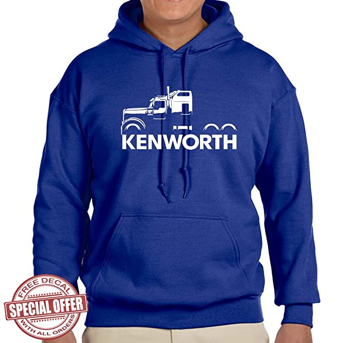 4442e7ff7614c Kenworth W900 Truck Classic Outline Design Hoodie Sweatshirt  Amazon ...