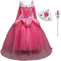 Déguisement Princesse Fille, LiUiMiY Costume Enfant Bébé Halloween Carnaval Noël Cosplay Anniversaire Fête avec Baguette magique Couronne