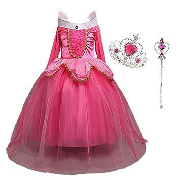 725bcf12b1a8ae Déguisement Princesse Fille, LiUiMiY Costume Enfant Bébé Halloween Carnaval  Noël Cosplay Anniversaire Fête avec Baguette magique Couronne
