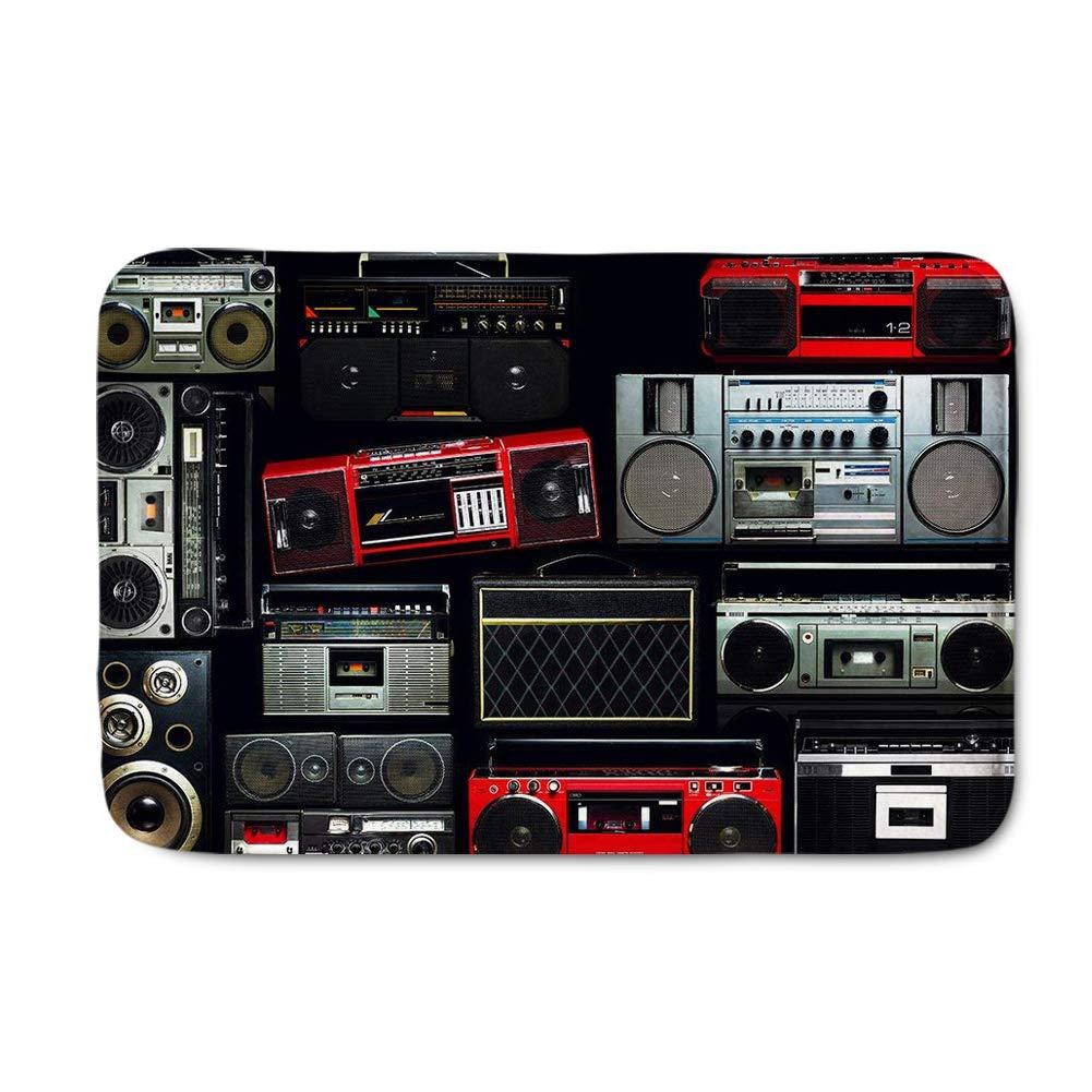 FOR U DESIGNS Vintage Wall Full of Radio Boombox of The 80s£¬ Doormat Entrance Mat Floor Mat Rug Indoor/Front Door/Bathroom Mats Rubber Non Slip