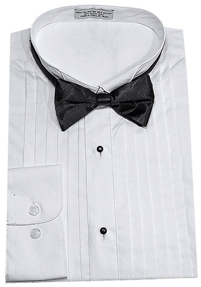 Sunrise Outlet Men's Half Inch Pleat Tuxedo Shirt w Bow Tie NTP-DS3005A