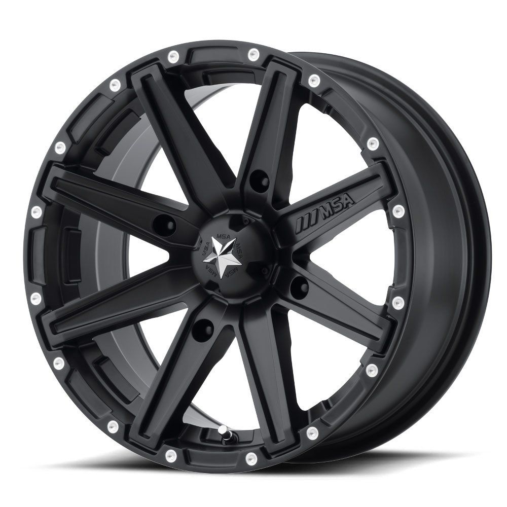 MSA Clutch 15x7 Black Wheel / Rim 4x156 with a 0mm Offset and a 132.00 Hub Bore. Partnumber M33-05756 MSA Offroad Wheels TRTC2096