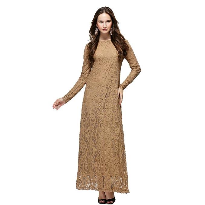 BOZEVON Mujeres Elegante Encaje Vestido de Musulmán Árabe Túnica Manga Larga Largos Caftán Vestidos, 5