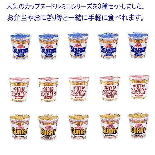 닛신식품 컵 누들 미니 시리즈3종류 세트(15 식들어감) 누들 맛 미니5개・카레 맛5개・씨푸드 맛5개