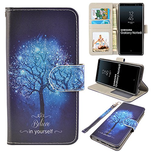 UrSpeedtekLive Galaxy Note 8 Case, Galaxy Note8 Wallet Case, Premium PU Leather Wristlet Flip Case Cover with Card Slots & Stand for Samsung Galaxy Note8, Believe in Yourself