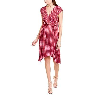 BCBGMAXAZRIA Women's Cap Sleeve Faux Wrap Woven Dress: Clothing