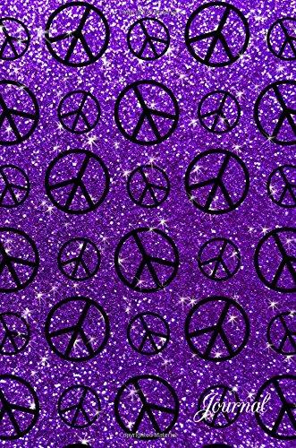 Journal: Purple faux glitter peace sign ()