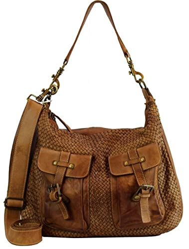 875b5c218c7eb BZNA Bag Emma cognac Italy Designer Damen Handtasche Schultertasche Tasche  Schafsleder Shopper Neu