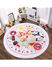 Baby Play Mat, Winthome Non-Slip Gym Play Mat Crawling Mat, 59-inch Large Diameter Round Foldable Soft and Washable Toys Storage Organizer