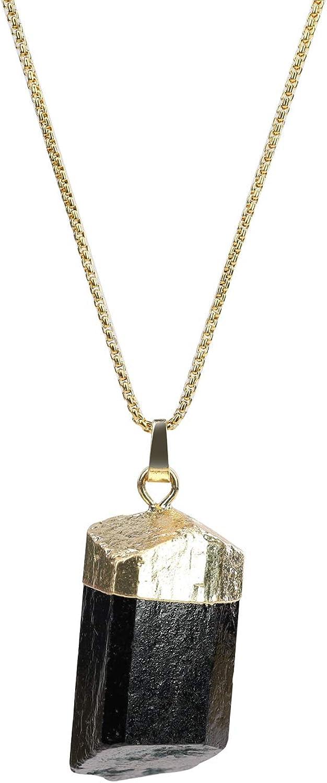COAI Collar de Acero Inoxidable Chapado en Oro con Colgante de Turmalina Natural en Bruto