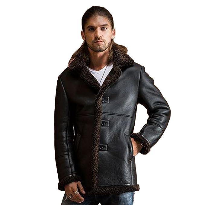 Amazon.com: Sani Hombre Grueso Cálido Shearling ropa macho ...