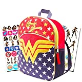 Wonder Woman Mini Backpack Set -- 11'' Wonder Woman Preschool Toddler Backpack with Glitter Emblem, Stickers and More (Super Hero Girls)