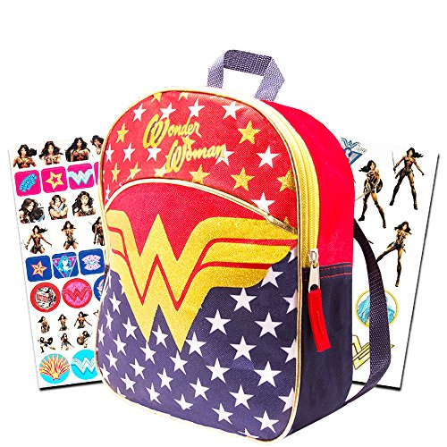 Wonder Woman Mini Backpack Set -- 11'' Wonder Woman Preschool Toddler Backpack with Glitter Emblem, Stickers and More (Super Hero Girls) by Supergirl Backpack