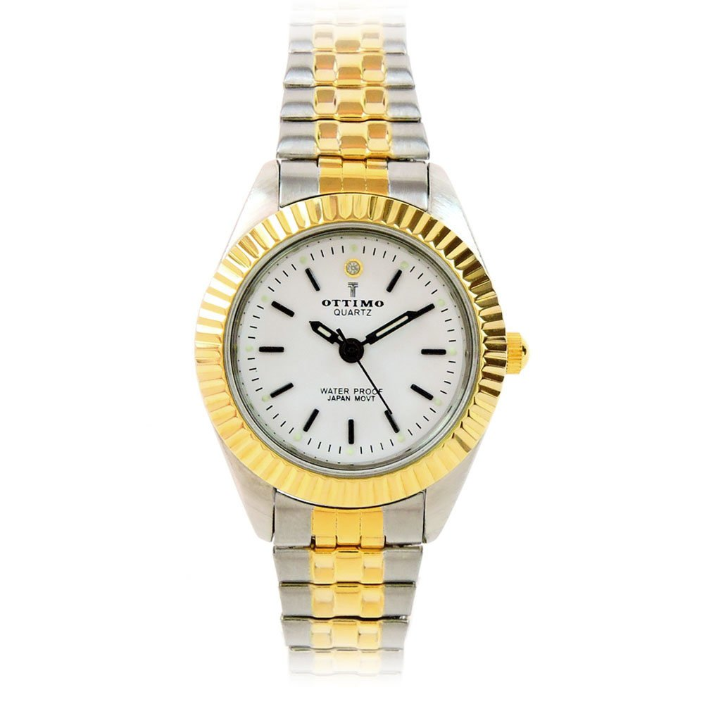 Two-Tone Brushed Finish Silver Gold Band Petite Size Women's Stretch Band Watch