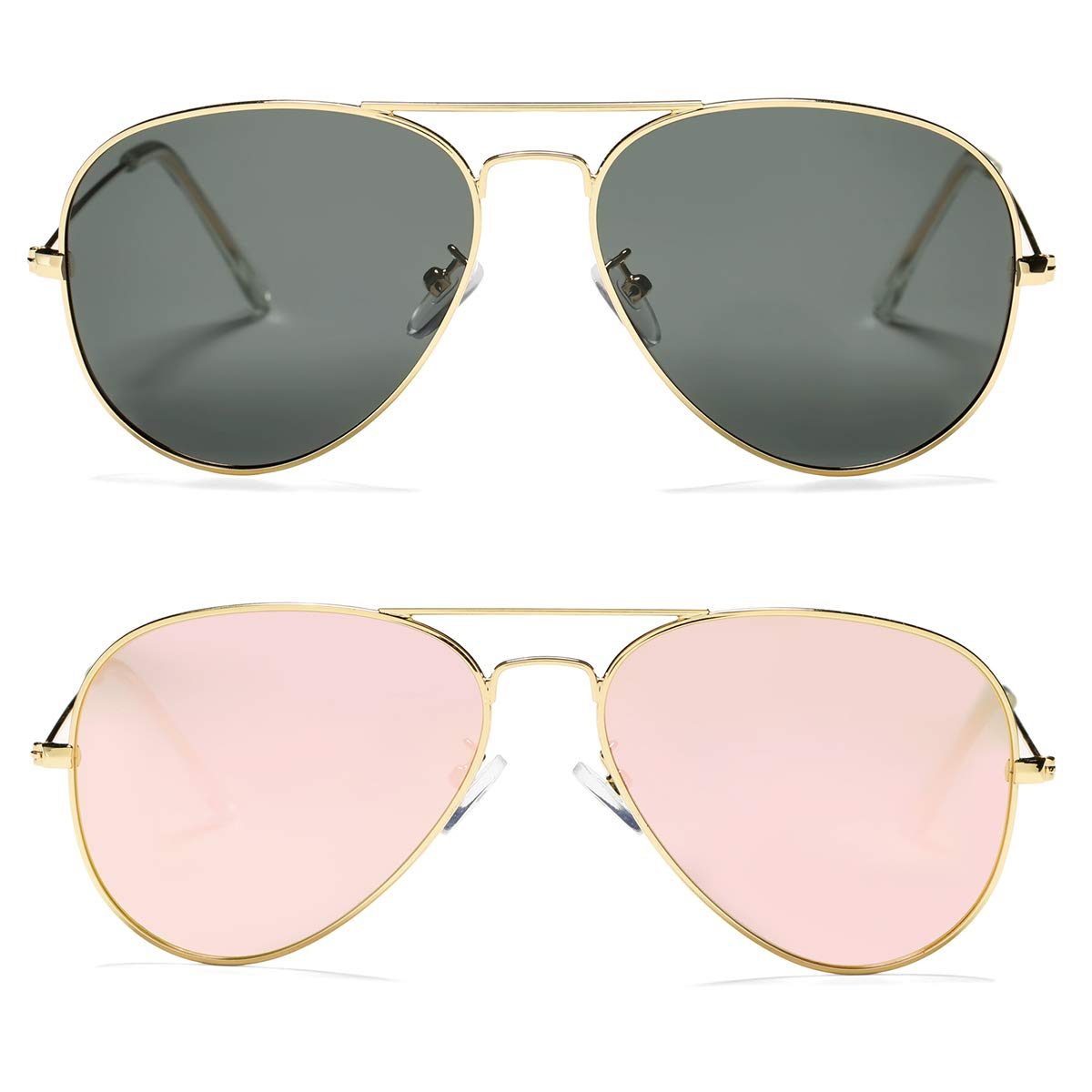 Pro Acme Classic Polarized Aviator Sunglasses for Men and Women UV400 Protection (2 Pairs) Gold Frame/Black Lens + Gold Frame/Pink Mirrored Lens by Pro Acme