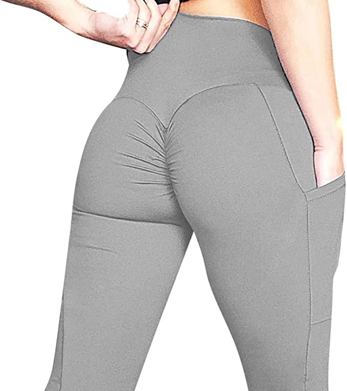 OMKAGI Women Scrunch Booty Leggings High Waisted Tummy Control Ruched Butt Lift Yoga Pants