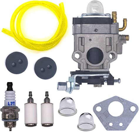 AISEN Carburetor Carb with Gasket Fuel Line Kit for Earthquake Ardisam E43 Auger 300486 11334 43CC 51.7CC 2 Cycle