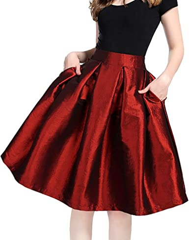 Linnuo Mujeres Vintage Swing Full Circle Plisadas Faldas Casual ...