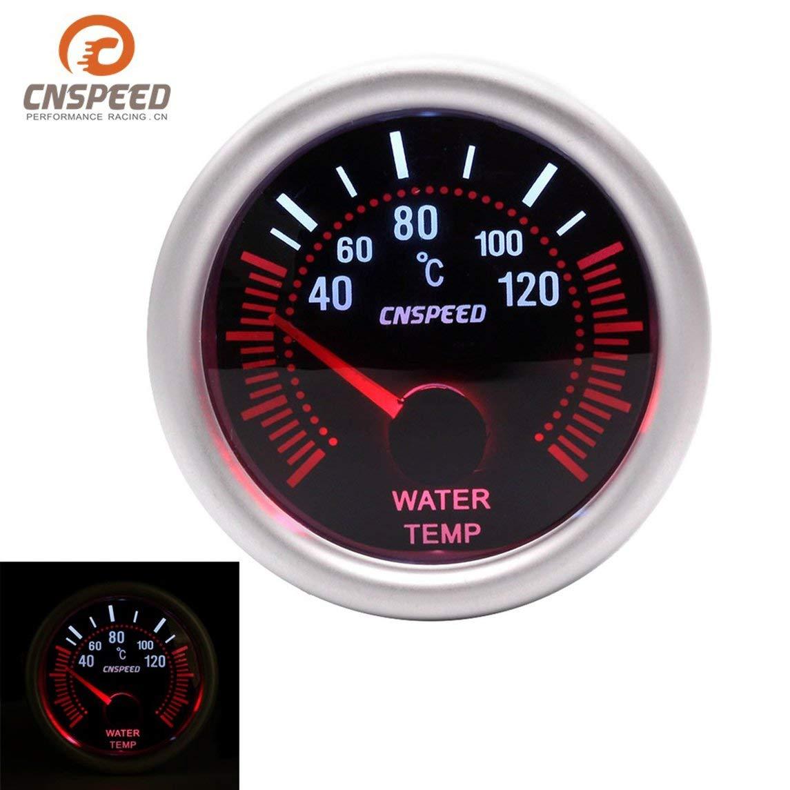 Footprintse sensor temperatura;reloj coche CNSPEED 12V 120 ℃ Auto Car LED Medidor de temperatura de agua digital Medidor de temperatura 52mm Lente de humo ...