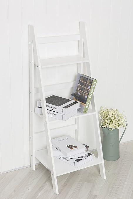 Estantería Sue Ryder con tres baldas y diseño de escalera en color blanco: Amazon.es: Hogar
