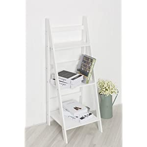 White Ladder Shelf with Three Tiers