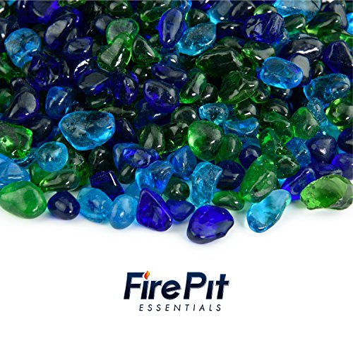 Blended Fire Glass - Mixed Dots Fire Glass Blend of Colored Fire Pit Glass Rocks for Indoor and Outdoor Gas Fire Pits and Fireplaces 10 Pounds (Lily Pond)