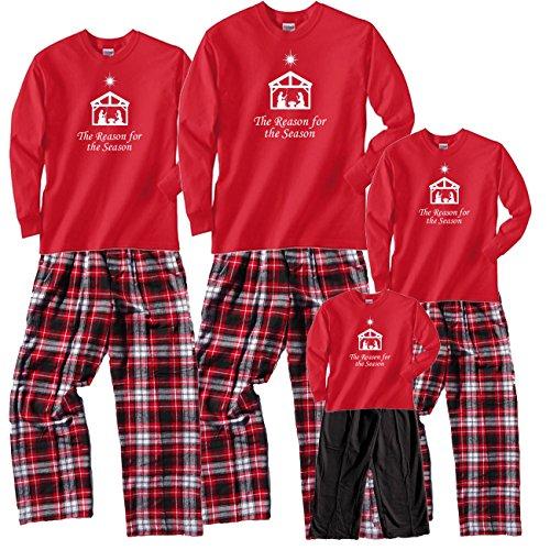 reason For The Season Red Pajama Set - Adult Medium, L/S, CBW Plaid Pants (200) ()