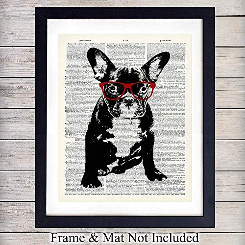 - Dog in Red Glasses - Wall Art Print on Dictionary Photo - Ready to Frame (8X10) Vintage Photo - Great Home Decor or Gift For Animal Lovers