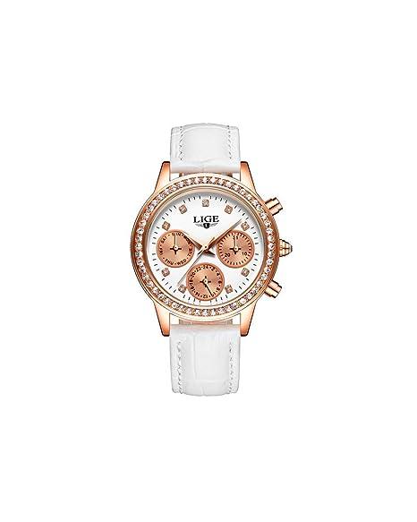 Reloj de mujer «Lige», marca de lujo multifunciones con correa de piel blanca: Amazon.es: Relojes