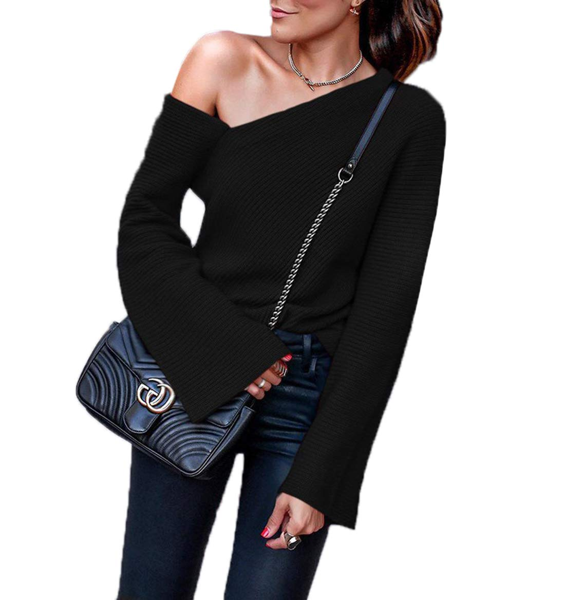 9675e8c69c35 Ajpguot Maglioni da Donna Sexy Senza Spalline Top Moda Maglie a Manica  Lunga Maglie Bluse di