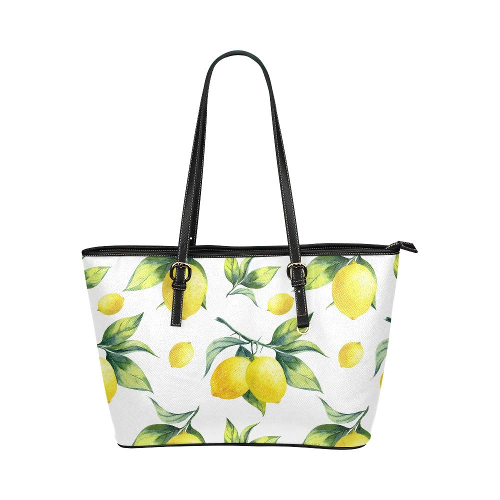 Fresh Fruit Yellow Lemon Limes Large Soft Leather Portable Top Handle Hand Totes Bags Causal Handbags With Zipper Shoulder Shopping Purse Luggage Organizer For Lady Girls Womens Work