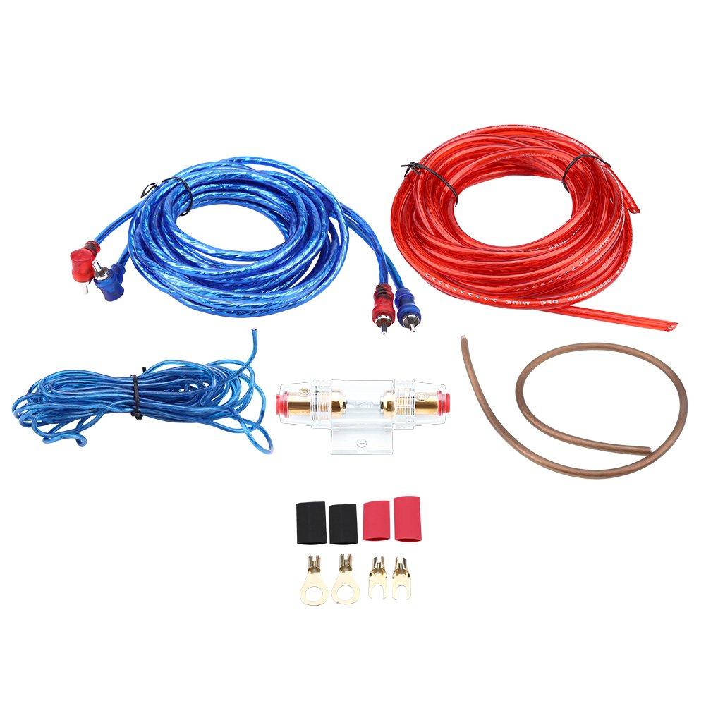 Qiilu Universal 8GA Kit de cable de alambre de instalación del altavoz del amplificador de subwoofer de audio para el auto con Portafusibles