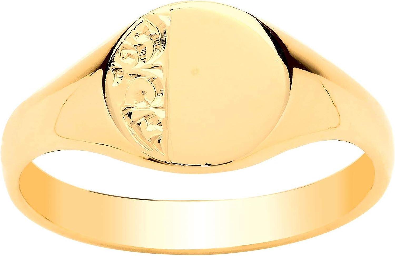 femme Chevali/ère ovale en or jaune 9 carats enfant Pour homme Gravable Livr/ée dans un coffret cadeau. Or jaune 9 carats Disponible en 12 styles et en tailles A-Y