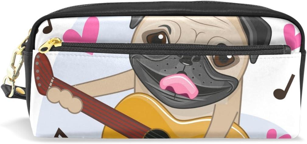 COOSUN Perro del Barro Amasado con la Guitarra portátil de Cuero de la PU Caja de lápiz de la Pluma de la Escuela Bolsas Bolsa de la Caja Fija de Gran Capacidad Maquillaje Bolsa de Cosméticos Grande