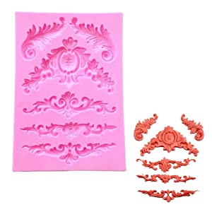 Unknow em1094257001 3D Sculpted Flower Lace Silicone Fondant Mold Cupcake Cake Decoration Tool, M