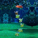 Evergreen 26.4'' Busy Days Bees Lights Solar Powered Mobile