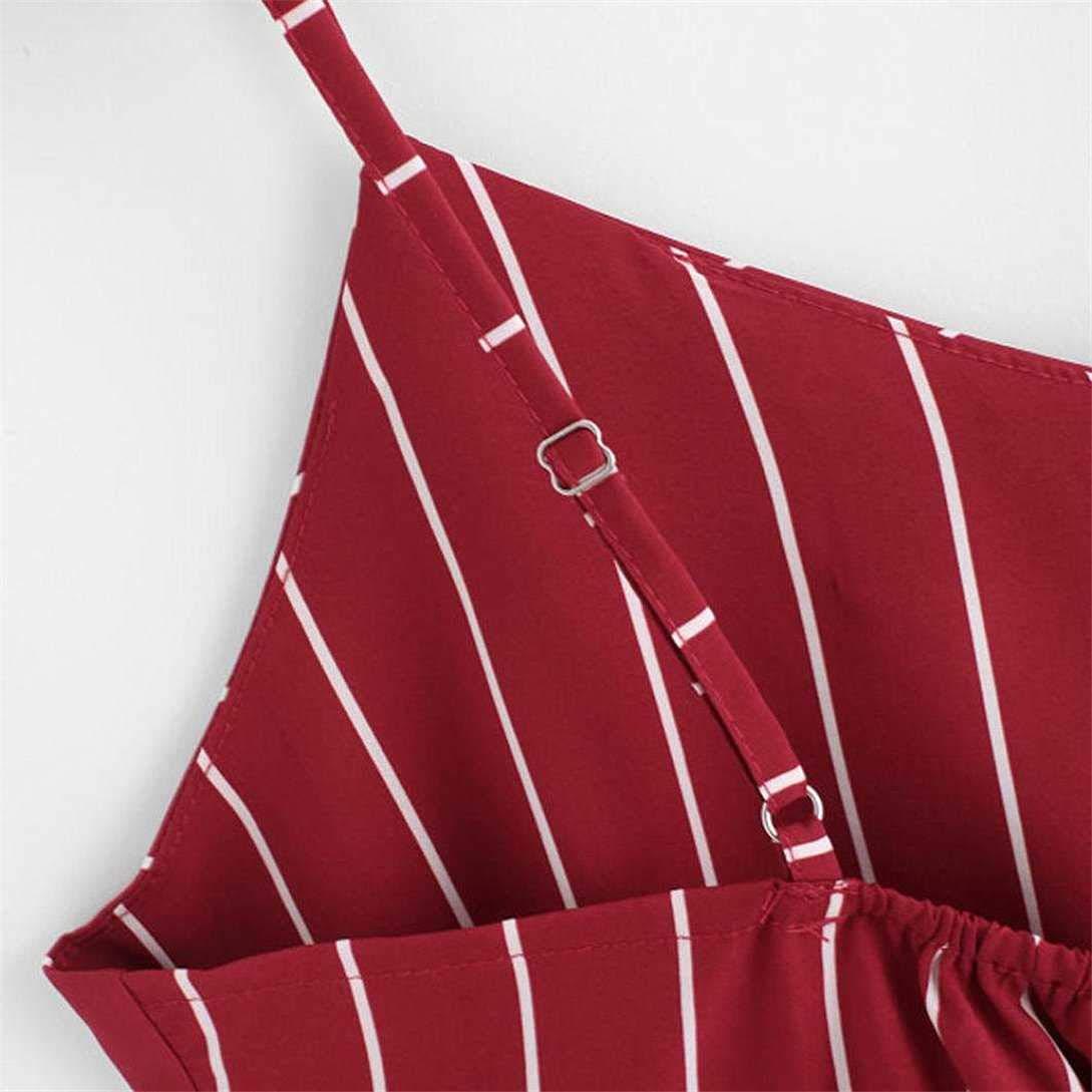 , Rot Busto: 84-90cm UMIPUBO Tops Camisole Canotte Scollo a V Stripe Crop Top T-Shirt da Donna Elegante Senza Maniche Bluse Estate Camicia Camicetta Casual Tank Top Canotta IT 42