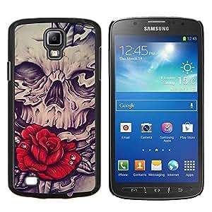 LECELL--Funda protectora / Cubierta / Piel For Samsung Galaxy S4 Active i9295 -- Vintage Rose Rose Vignette tinta azul --