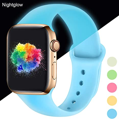 Image of Youmaofa Correa Compatible con Apple Watch 38mm 40mm, Correa de Silicona Repuesto Pulsera Deportivas para iWatch Series 5 Series 4 Series 3 Series 2 Series 1, 38mm/40mm S/M Nightglow Blue