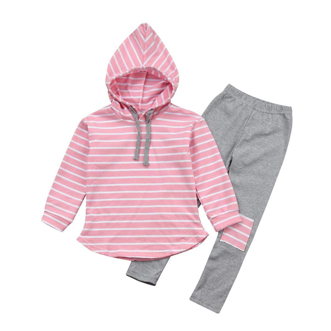 2pcs Toddler Baby Boy Girl Clothes Set Stripe Hoodie Tops+Patch Pants Outfits (Pink, 7T)