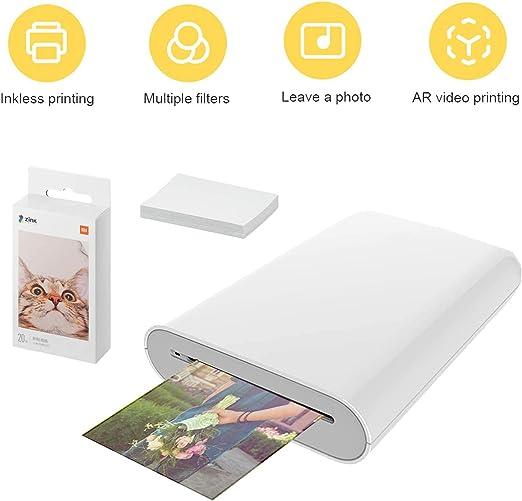 Bainuojia ZIP - Impresora de fotos para smartphone (iOS y Android), impresión inmediata, Bluetooth, sin tinta Zink Printer + 20 Paper: Amazon.es: Hogar
